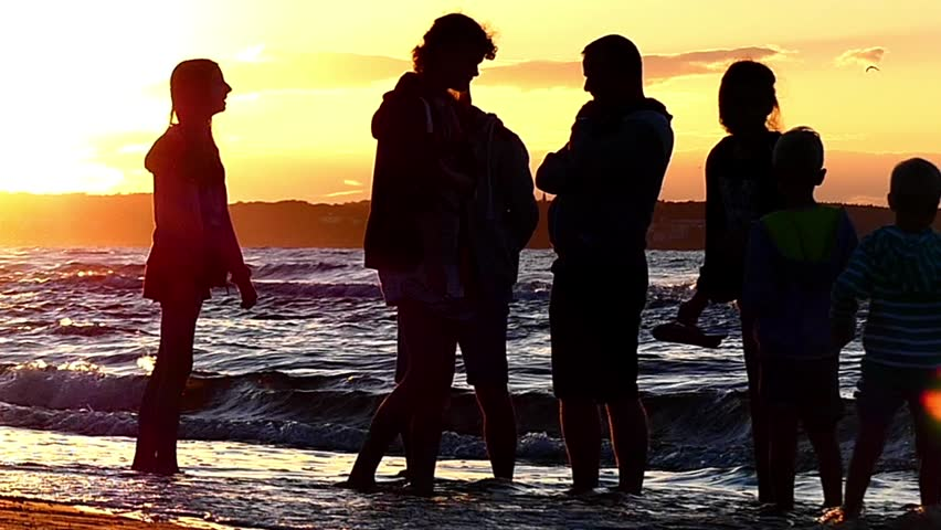 Silhouette People On Sunset Near The Sea Beautiful Action In Slow Motion Hd