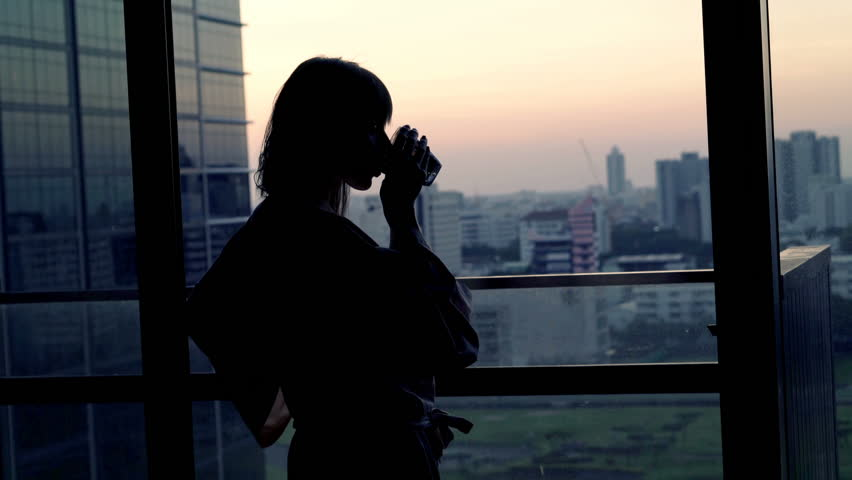 Woman in bathrobe drinking alcohol and admire view from window at home  | Shutterstock HD Video #19088998