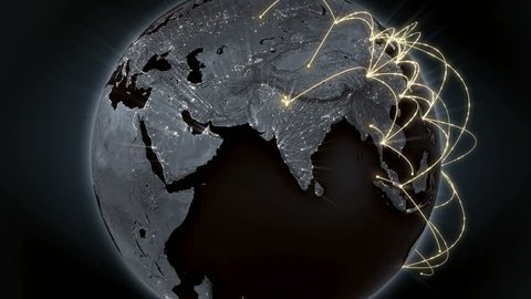 Growing global network across the world. Internet and business concept. Global communication. Orange version. 4K