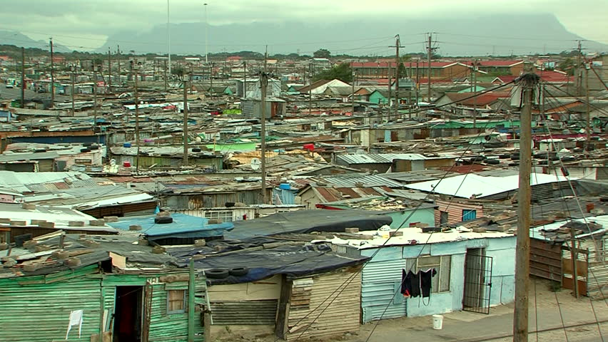 high angle view over township in south africa