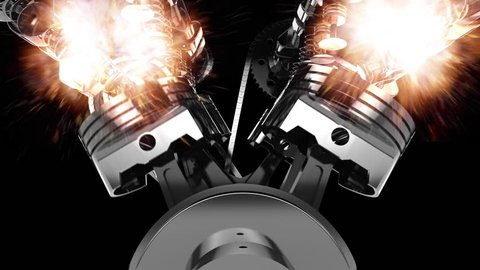 CG animation of a working V8 engine with explosions and flames. Pistons, camshaft, valves and other mechanical parts are in motion.