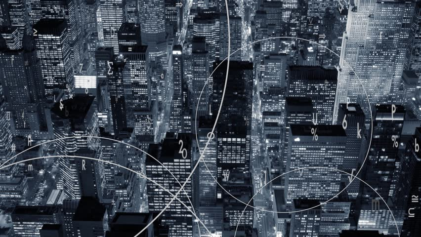Data stream numbers floating over city symbolizing global business networking connection  | Shutterstock HD Video #19191364