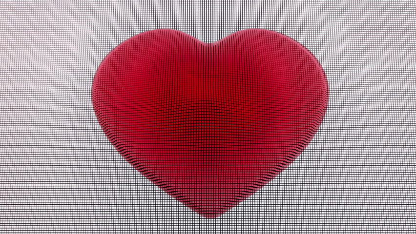 Hand drawn heart symbol rotating on the blueprint paper seamless heart shape made of white and red cubes loop ready animation of moving heart shape malvernweather Choice Image