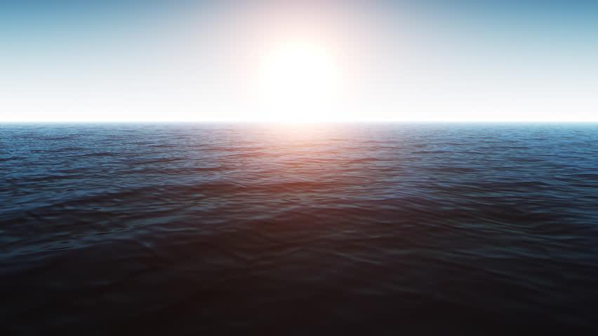 Computer Generated Beautiful Ocean Scene With Shiny Warm Sun #19201924