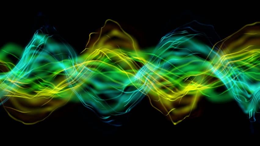 rainbow color smoke flowing over black background