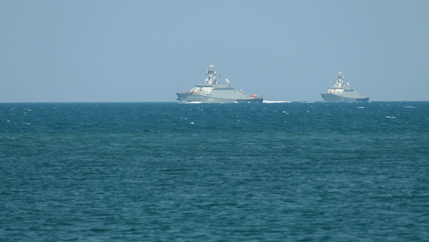 """modern small missile boat fleet with Russian missiles """"Caliber"""" on the high seas - July 28, 2016, Crimea, Sevastopol"""