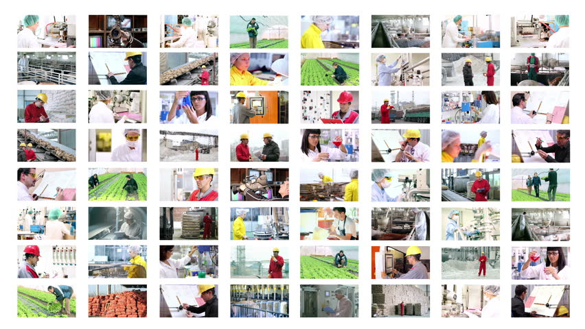 People at Work. Collage of video clips showing people of different professions at work. HD1080p.