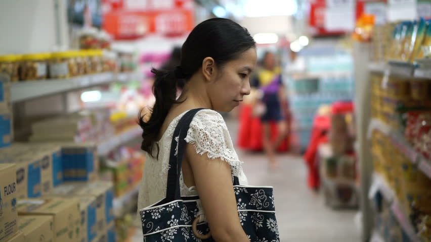 Asian girl, woman shopping for food in wholesale supermarket | Shutterstock HD Video #19326334