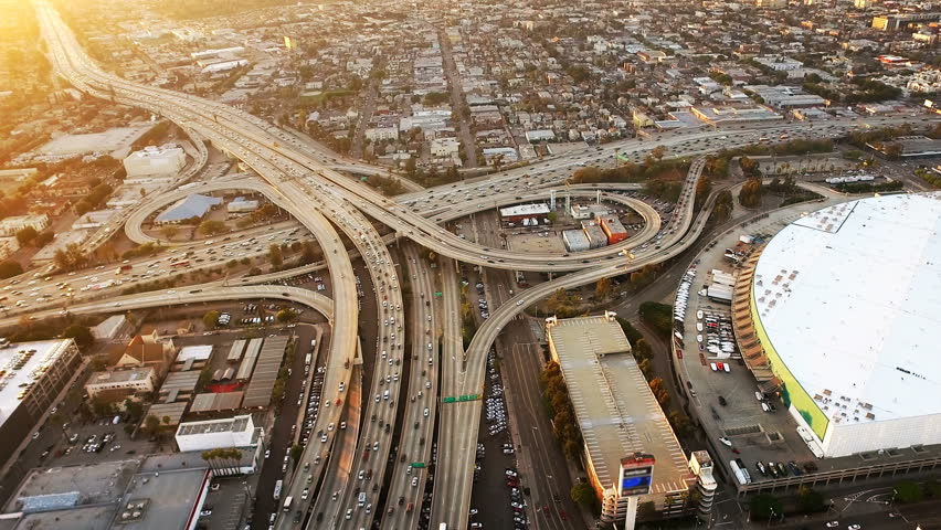 Aerial view of Los Angeles Freeway, rush hour. California, United States. Transportation.