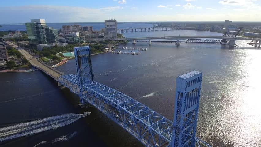 Aerial video Hart Bridge Expressway Jacksonville FL