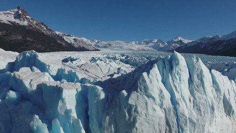 Aerial view from dron of Perito Moreno glacier, National park Los Glaciares, Patagonia, Argentina