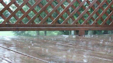 Rain water on deck boards