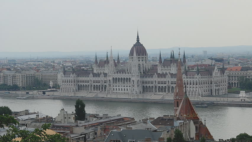 Parliament Building in Budapest, Hungary - HD stock video clip
