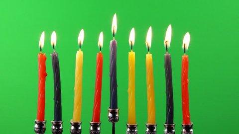 Hanukkah menorah with candles on greenscreen religion, religious, spirituality, symbol, tradition traditional