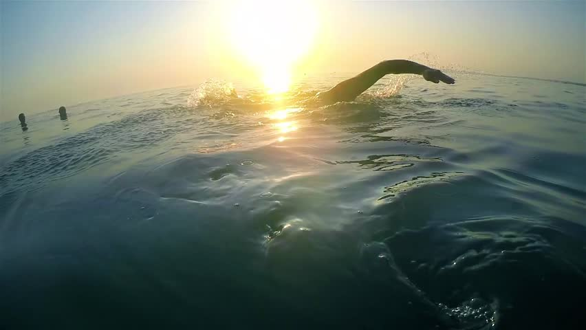 Slow motion of professional swimmer swimming crawl outdoor on sunset, back view | Shutterstock HD Video #19416844
