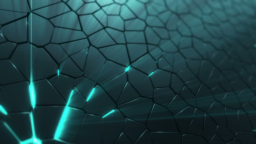 Abstract background with animation moving of dark triangles with glowing light from backdrop. Technologic backdrop with plastic surface. Animation of seamless loop.   Shutterstock HD Video #19444507