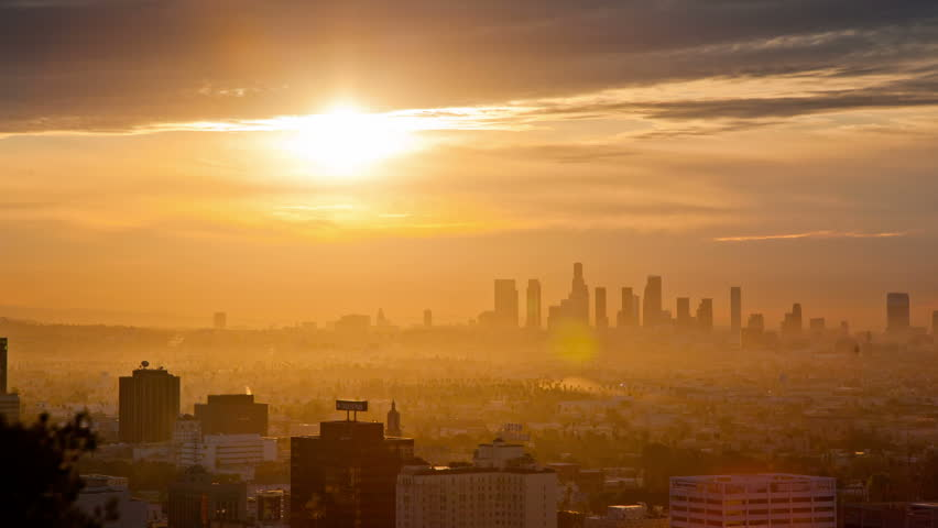 Sunrise over Los Angeles.  Timelapse.