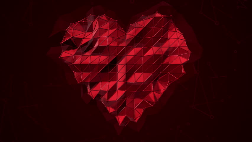 Abstract background with animation symbol of heart from metallic net. Animation of seamless loop.