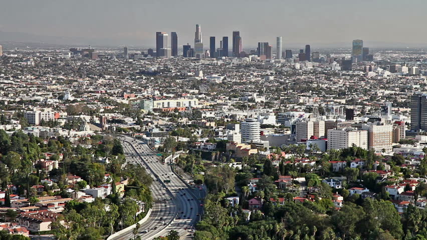 Los Angeles city view with traffic on freeway    Shutterstock HD Video #1959154