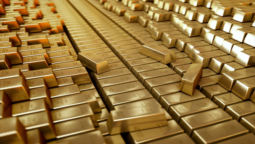 Gold Bars Realistic 3d Animation Stock Footage Video 100