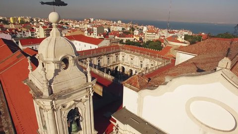Panoramic view Graca and Castle of Sao Jorge Lisbon aerial