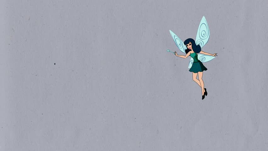 Cartoon. Fairy flying , waves his magic wand and flies, pixie, Luma Matte, the mask is included