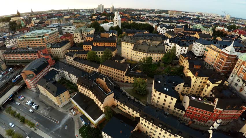 Aerial view. Stockholm. Old houses, buildings and streets. City center. Sweden. Shot in 4K (ultra-high definition (UHD).