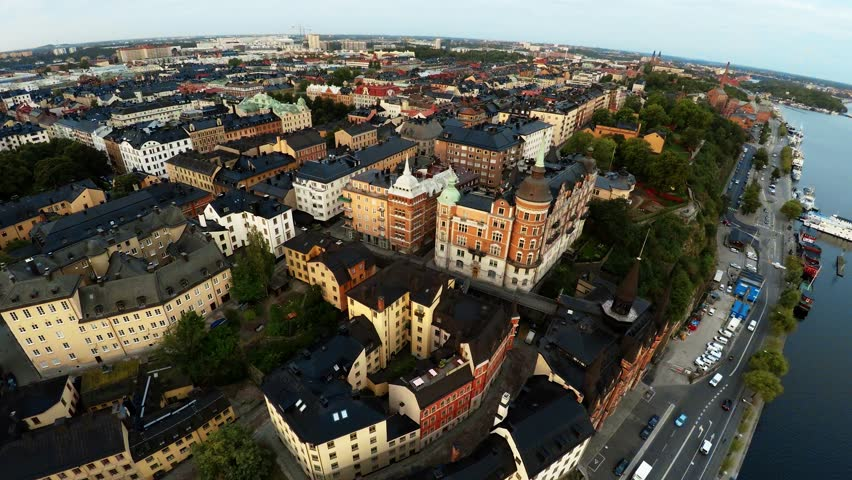 Aerial view. Stockholm. Old houses, buildings and streets. City center. Sweden. Shot in 4K (ultra-high definition (UHD). #19711246