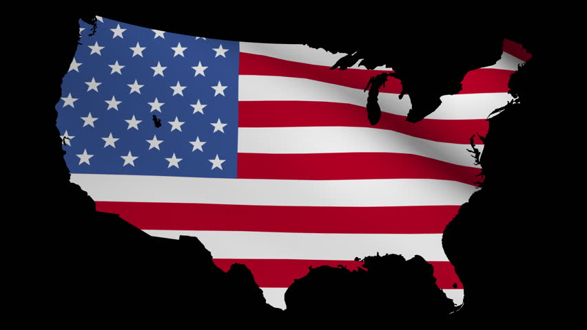 Usa Map With Rippling Flag Animation Stock Footage Video - Us flag and map