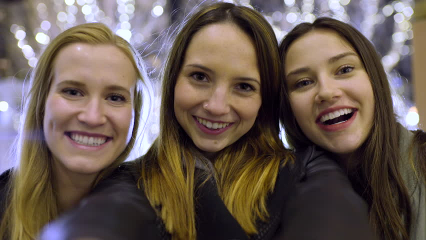 Closeup Of Fun Teens Making Faces And Smiling For Selfies | Shutterstock HD Video #19718902