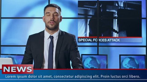 Male News Presenter Speaking About Special Force Operation. Shot on RED Cinema Camera in 4K (UHD).