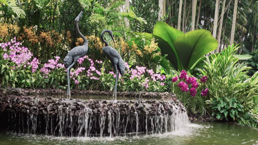 Water Fountain Feature in Botanic Garden