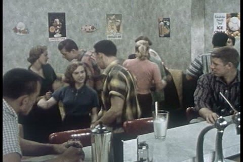 At the local malt shop, Sharon convinces Jimmy and some classmates to help her organize a Safety Economy Run for their high school. (1950s)