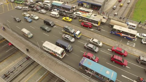 Aerial of traffic holdup in Lima, Peru, South America. Cross-way (Via Expresa and Angamos street) in Surquillo, Miraflores. LIMA, November 2015