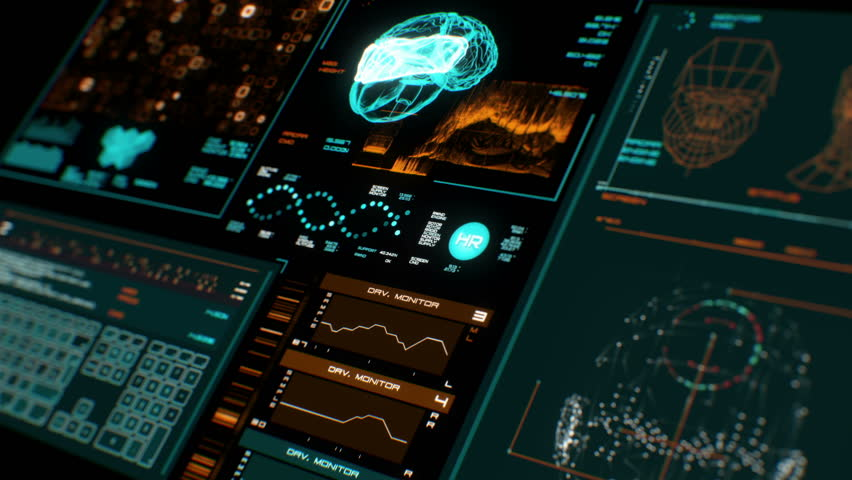 Ultra high resolution footage of futuristic interface in prespective.Digital background.Blinking and switching indicators and statuses showing brain scanning process or human health.UHD,HD,1080p