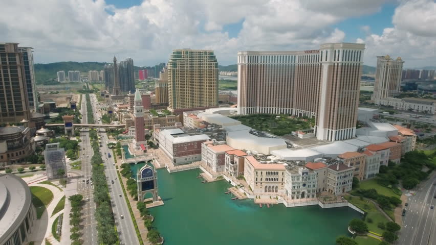 MACAU - JULY 2016: Aerial drone view of the casino strip including the Venetian hotel resort in Macau, one of the most popular places to gamble, and the only legal city to do so in China.