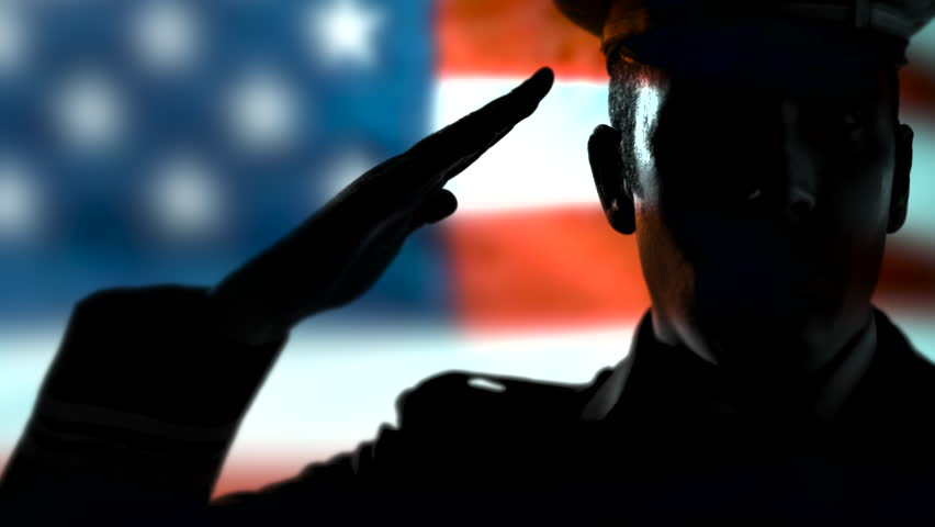 4K Officer Uniform Soldier Salute, US American Military Silhouette, USA Flag