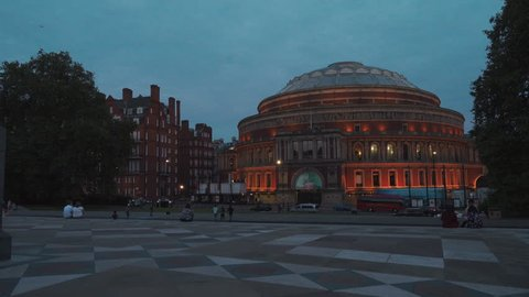 LONDON, August 16 - An evening gimbal shot showing the Royal Albert Hall and traffic in London, UK