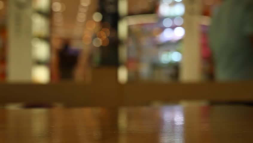 Table At Cafe Blurred Background