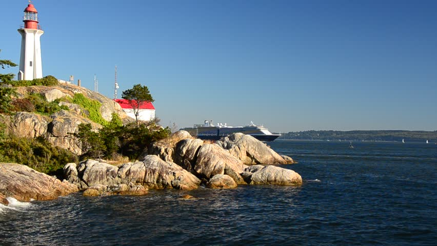 Big cruise ship showing up in Lighthouse Park at West Vancouver, Canada.