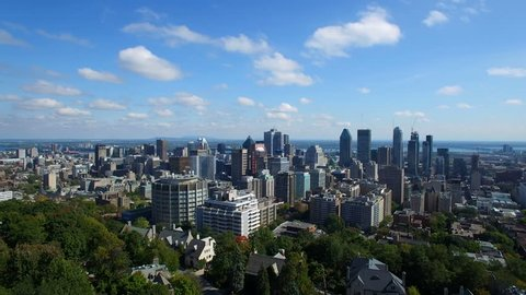 Aerial Footage of Montreal City Downtown in Quebec, Canada during Summer 2016 - Beautiful Nature/Civilization Contrast (4K UHD)