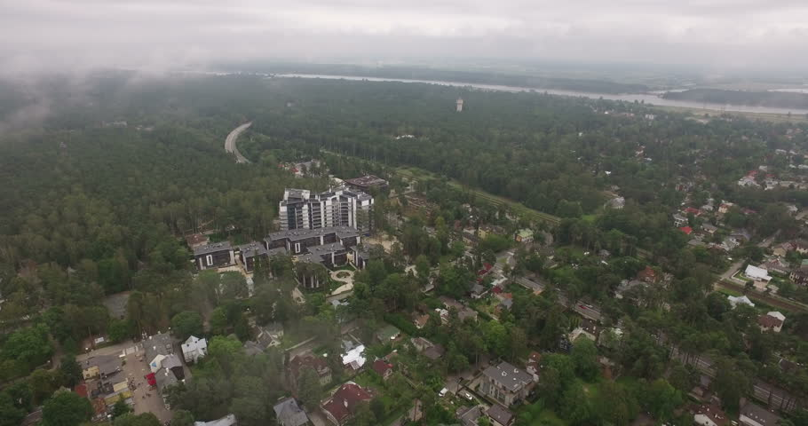 Panoramic views over the city near the forest and the sea. Jurmala. Latvia.The video was filmed in 4K with drone.Jurmala, Latvia