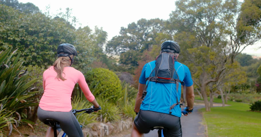 Rear view of athletic couple cycling on the road in park 4k - 4K stock : guy pitching a tent - memphite.com
