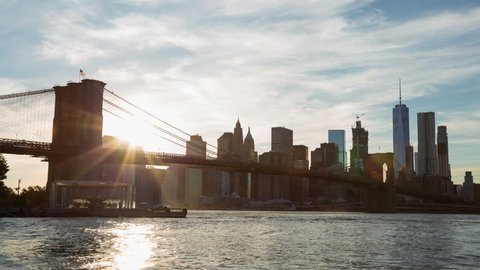 New York City, New York, United-Sates - September 21st 2016 - Brooklyn Bridge and Lower Manhattan Sunset Timelapse