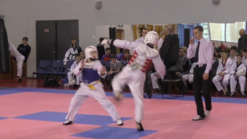Orenburg, Russia - 27 March 2016: The boys compete in taekwondo among Juniors.