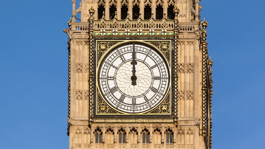 Animated time lapse of Big Ben's clock face with 12 hours passing in 14 seconds.