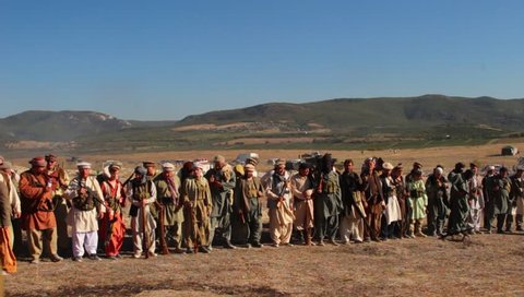 "SAINT PETERSBURG, RUSSIA. SEPTEMBER 2016: Military festival ""Battle steel"".  Reconstruction of the war in Afghanistan (1978â??present). Armed rebel forces in the national Arabic clothing"