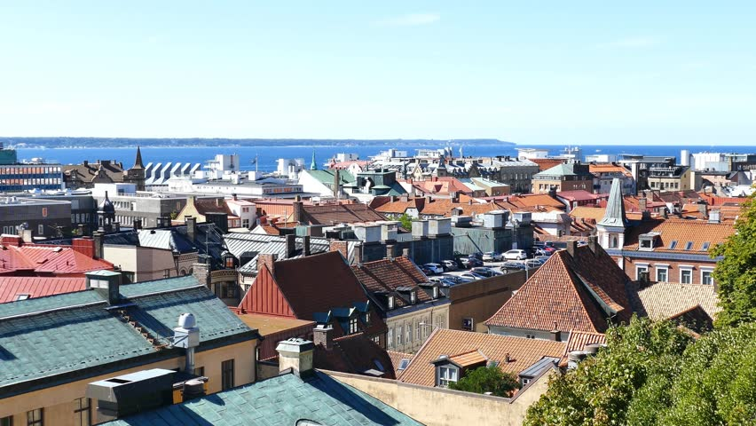 4K Video of Aerial view of the beautiful city - Helsingborg, Sweden