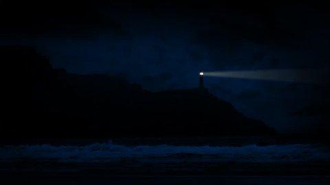 Lighthouse On Coast With Beam Shining