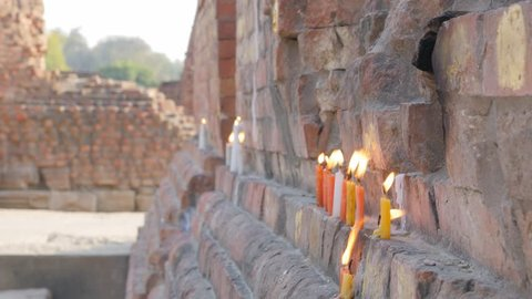 Sarnath,India - February 25,2016: Candle's on ruins